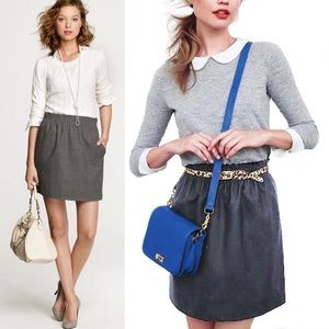 J. Crew City Mini Dark Grey Wool Skirt